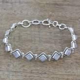 Handcrafted Rainbow Moonstone India Silver Tennis Bracelet, 'Misty Diamonds'