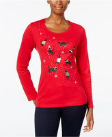 Karen Scott Petite Cats Holiday Graphic Top, Only at Macy's