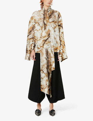 Petar Petrov Clancy fox-print silk shirt