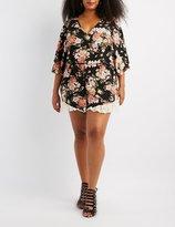 Charlotte Russe Plus Size Floral Lace-Trim Open-Back Romper