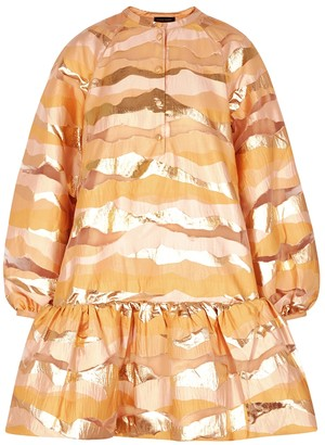 Stine Goya Josefine peach panelled mini dress