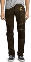Robin's Jeans Distressed Zip-Detail Moto Jeans, Black