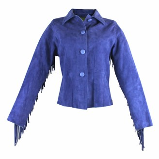 Zut London Hand Beaded & Fringed Leather Fitted Jacket - Blue
