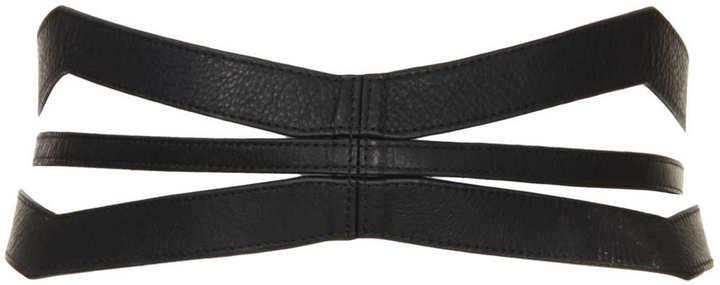 Topshop Slashed Leather Corset Belt