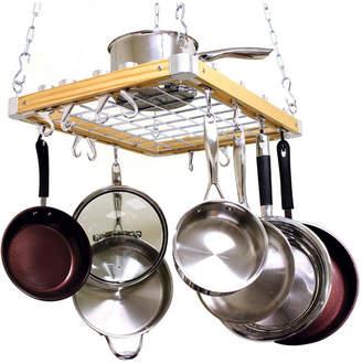 "Cooks Standard Ceiling Mounted Wooden Pot Rack, 24"" X 18"""