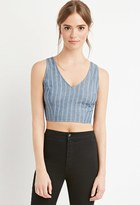 Forever 21 FOREVER 21+ Cutout Chambray Crop Top