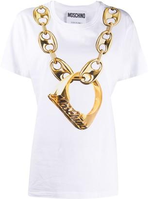 Moschino chain-link print T-shirt