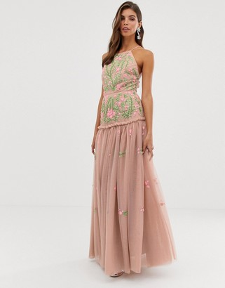 Asos Edition EDITION meadow floral embroidered & sequin maxi dress with open back-Pink