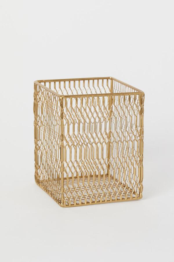 H&M - Metal Storage Basket - Gold