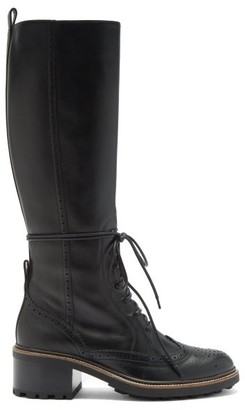Chloé Tie-front Leather Knee Boots - Black