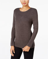 JM Collection Crew-Neck Button-Cuff Sweater, Only at Macy's
