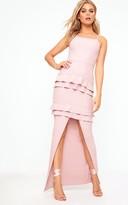 PrettyLittleThing Dusty Pink Ruffle Detail Maxi Dress