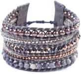 Chan Luu Peacock Blue Seed Simulated Pearl Mix Swarovski Crystal Wrap Bracelet Adjustable