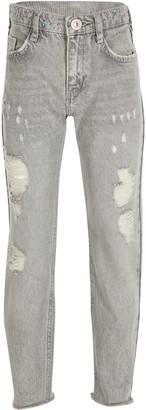River Island Girls Grey bling straight leg jeans