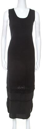 Chloé Black Knit Lace Detail Sleeveless Maxi Dress S