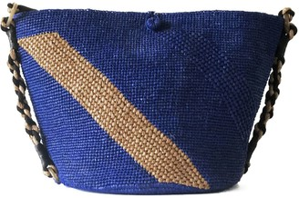 Maraina London Annabel Raffia Beach Bag- Blue & Brown