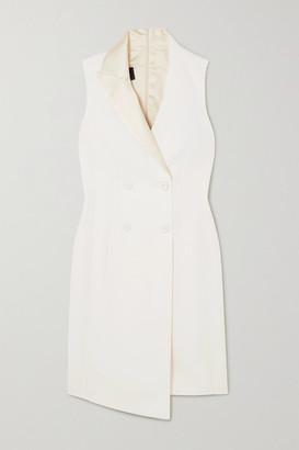 Akris Asymmetric Double-breasted Wool-blend Dress - White