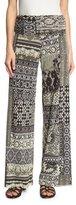 Fuzzi Mosaic-Print Tulle Wide-Leg Pants, Black Pattern