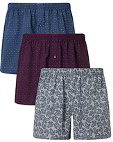 John Lewis Paisley Woven Cotton Boxers, Pack Of 3, Blue/burgundy/white