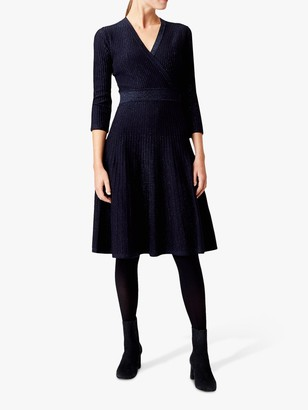 Hobbs Ellie Knitted Dress, Navy