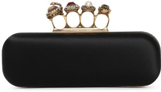 Alexander McQueen Satin four ring clutch