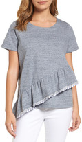 Caslon Asymmetrical Ruffle Short Sleeve Sweatshirt (Petite)