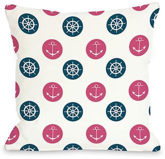 One Bella Casa Anchor Wheel Polka Dot Decorative Pillow