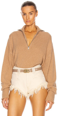 Marissa Webb Wesley Boyfriend Fit Zip Front Sweater in Camel | FWRD