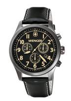 Wenger Terragraph Chrono Men's Quartz Watch with Dial Analogue Display and Leather Strap 010543104