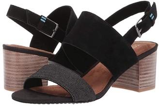 Toms Poppy (Black Suede/Denim) Women's Sandals