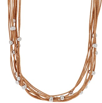 Steel By Design Stainless Steel Multi-Strand Woven Necklace with Bead Detail