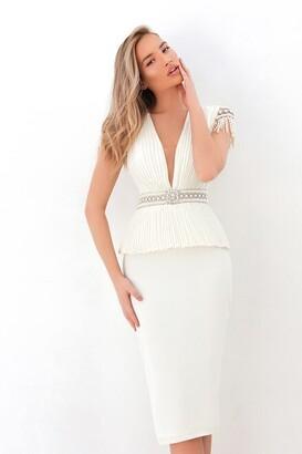 Tarik Ediz Ever_Cap Sleeve Peplum Sheath Dress