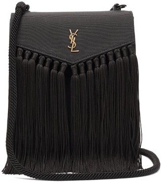 Saint Laurent plaque Tasselled Leather Satchel - Black