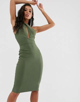 Vesper midi pencil dress with twist neck in Olive