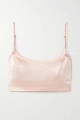 Morgan Lane Noelle Lace-trimmed Silk-blend Charmeuse Soft-cup Bralette - Pastel pink