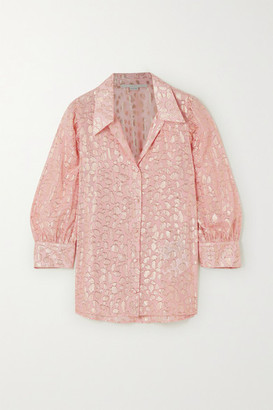 Stella McCartney Metallic Fil Coupe Silk-blend Shirt - Pink
