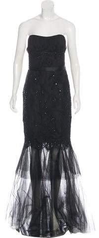 Marchesa Strapless Evening Dress