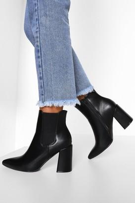 boohoo Block Heel Pointed Toe Chelsea Boots