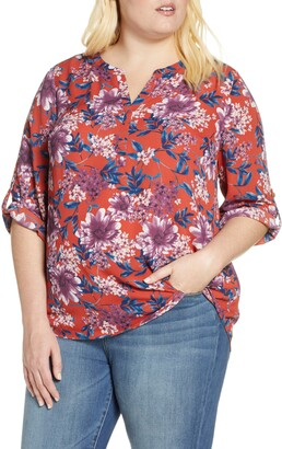 Daniel Rainn Roll Sleeve Floral Blouse