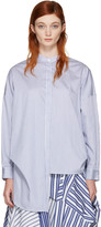 Enfold White and Navy Cropped Back Shirt