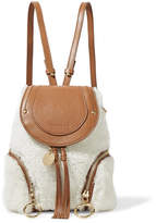 See by Chloe Olga Small Shearling And Textured-leather Backpack - Cream