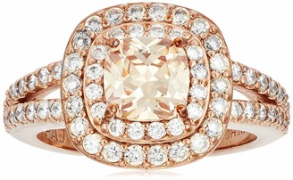 Amazon Collection Rose Gold Plated Sterling Silver Cushion Cut Champaign Cubic Zirconia 6mm Double Halo Ring Size 5