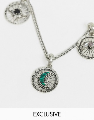 Reclaimed Vintage inspired changeable charms collection pendant with malachite stone in silver