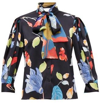 Peter Pilotto Floral-print Silk-blend Seersucker Blouse - Black Print