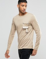Asos Longline Long Sleeve T-Shirt With Military Pocket In Beige