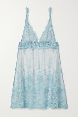 I.D. Sarrieri Embroidered Tulle Chemise - Light blue