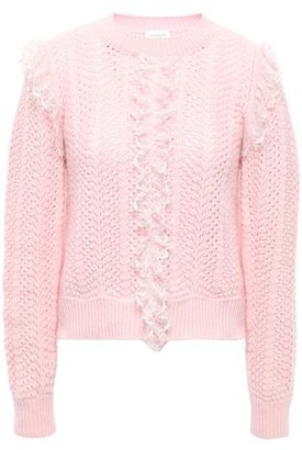 Giambattista Valli Ruffled Point D'esprit-trimmed Open-knit Wool Sweater