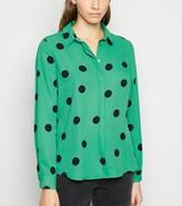 New Look Spot Long Sleeve Collared Shirt