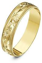 Theia Heavy Weight 5 mm D Shape with Centre Stars, Leaves Design and Millgrain Edges 9 ct Yellow Gold Wedding Ring - M