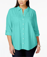 Style&Co. Style & Co Plus Size Tab-Sleeve Shirt, Only at Macy's
